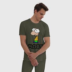 Пижама хлопковая мужская Moby цвета меланж-хаки — фото 2
