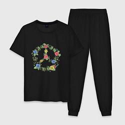 Пижама хлопковая мужская Peace flowers цвета черный — фото 1
