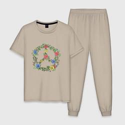 Пижама хлопковая мужская Peace flowers цвета миндальный — фото 1