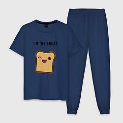 Пижама хлопковая мужская Хлебушек цвета тёмно-синий — фото 1