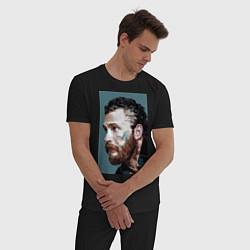 Пижама хлопковая мужская Том Харди Ван Гога цвета черный — фото 2