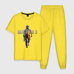 Пижама хлопковая мужская Battlefield 3 цвета желтый — фото 1