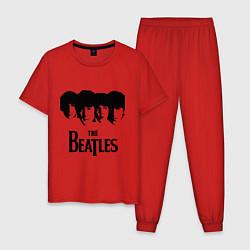 Пижама хлопковая мужская The Beatles: Faces цвета красный — фото 1