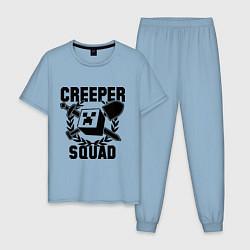 Пижама хлопковая мужская Creeper Squad цвета мягкое небо — фото 1