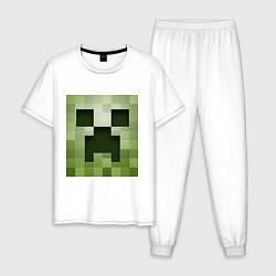 Пижама хлопковая мужская Мinecraft creeper цвета белый — фото 1