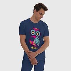 Пижама хлопковая мужская Яркая сова цвета тёмно-синий — фото 2