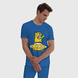 Пижама хлопковая мужская Пришелец Саня цвета синий — фото 2