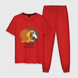 Пижама хлопковая мужская Ветеринар цвета красный — фото 1
