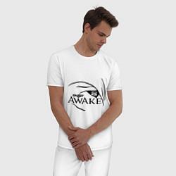 Пижама хлопковая мужская Skillet awake цвета белый — фото 2