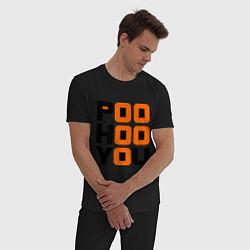 Пижама хлопковая мужская Poo hoo you цвета черный — фото 2
