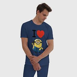 Пижама хлопковая мужская I love Minion цвета тёмно-синий — фото 2