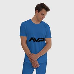 Пижама хлопковая мужская AVP: White Style цвета синий — фото 2