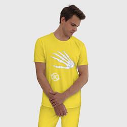 Пижама хлопковая мужская Кукрыниксы: Кости цвета желтый — фото 2