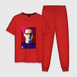 Пижама хлопковая мужская Chester Polygons цвета красный — фото 1