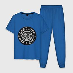 Пижама хлопковая мужская Пи не остановить цвета синий — фото 1