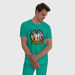Пижама хлопковая мужская PUBG Mission цвета зеленый — фото 2