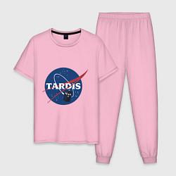 Пижама хлопковая мужская Tardis NASA цвета светло-розовый — фото 1