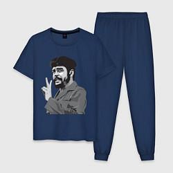 Пижама хлопковая мужская Che Guevara: Peace цвета тёмно-синий — фото 1