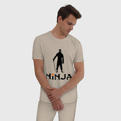Пижама хлопковая мужская Black Ninja цвета миндальный — фото 2