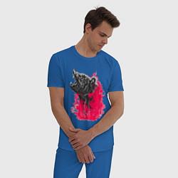 Пижама хлопковая мужская Рев медведя цвета синий — фото 2