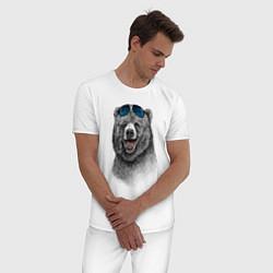 Пижама хлопковая мужская Медведь в очках цвета белый — фото 2
