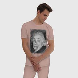 Пижама хлопковая мужская Энштейн дурачится цвета пыльно-розовый — фото 2
