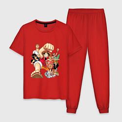 Пижама хлопковая мужская Ван-Пис команда цвета красный — фото 1