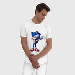 Пижама хлопковая мужская Sonic dab цвета белый — фото 2