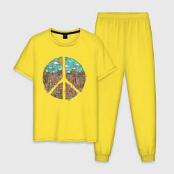 Пижама хлопковая мужская Мир (Peace) цвета желтый — фото 1