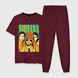 Пижама хлопковая мужская Nirvana цвета меланж-бордовый — фото 1