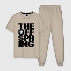 Пижама хлопковая мужская The Offspring цвета миндальный — фото 1