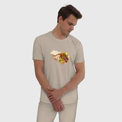 Пижама хлопковая мужская Шаурма цвета миндальный — фото 2