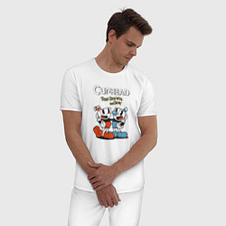 Пижама хлопковая мужская Cuphead Mugman цвета белый — фото 2