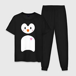 Пижама хлопковая мужская Привет от пингвина цвета черный — фото 1
