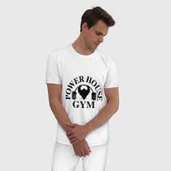 Пижама хлопковая мужская Power House Gym цвета белый — фото 2