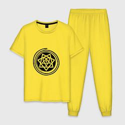 Пижама хлопковая мужская HIM Pentagram цвета желтый — фото 1