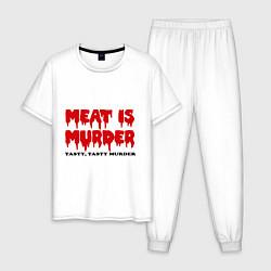 Пижама хлопковая мужская Мясо это вкусное убийство цвета белый — фото 1