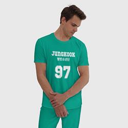 Пижама хлопковая мужская Jungkook 97 цвета зеленый — фото 2