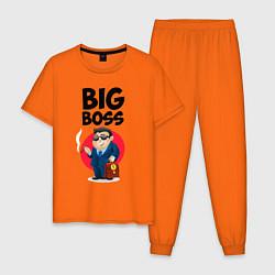 Пижама хлопковая мужская Big Boss / Начальник цвета оранжевый — фото 1