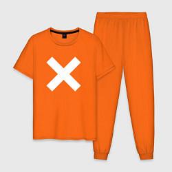 Пижама хлопковая мужская The XX: White X цвета оранжевый — фото 1