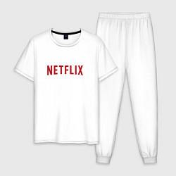Пижама хлопковая мужская Netflix цвета белый — фото 1