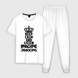 Пижама хлопковая мужская Keep Calm & Imagine Dragons цвета белый — фото 1