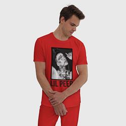 Пижама хлопковая мужская Lil Peep: Black Style цвета красный — фото 2