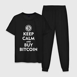 Пижама хлопковая мужская Keep Calm & Buy Bitcoin цвета черный — фото 1