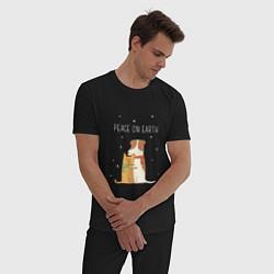 Пижама хлопковая мужская Peace on earth цвета черный — фото 2
