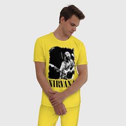 Пижама хлопковая мужская Black Nirvana цвета желтый — фото 2