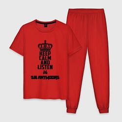 Пижама хлопковая мужская Keep Calm & Listen Die Antwoord цвета красный — фото 1