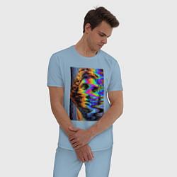Пижама хлопковая мужская VHS David цвета мягкое небо — фото 2