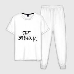 Пижама хлопковая мужская Get sherlock цвета белый — фото 1