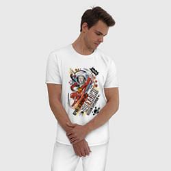Пижама хлопковая мужская Юрий Гагарин: поехали цвета белый — фото 2